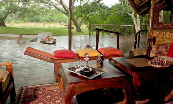 The lounge area at Kosi Forest Lodge