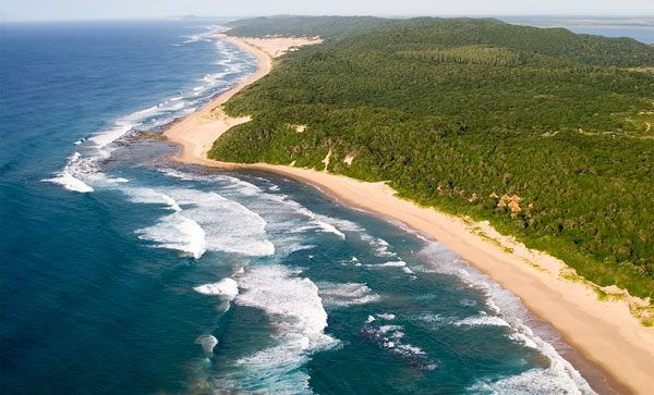 An aerial view of Thonga Beach