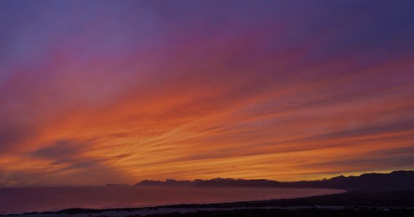 Vibrant sunset over Walker Bay near Hermanus